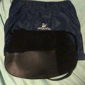Swarovski black leather and suede messenger purse